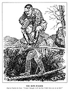 "The Rope-Walker. Shade of Frederick the Great: ""I know I brought it off - but then I didn't have you on my back."" (the ghost of Frederick the Great carries a terrified Hitler on his shoulders as he walks over a ravine from the East using his German Army pole for balance)"