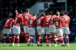 Bristol City's Luke Freeman celebrates with his team mates and celebrate the birth of Bristol City's Marlon Pack's baby. - Photo mandatory by-line: Dougie Allward/JMP - Mobile: 07966 386802 23/08/2014 - SPORT - FOOTBALL - Manchester - Spotland Stadium - Rochdale AFC v Bristol City - Sky Bet League One