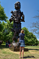 "© Licensed to London News Pictures. 05/07/2017. London, UK. ""Vulcan"", 1999, by Eduardo Paolozzi. The Frieze Sculpture festival opens to the public in Regent's Park.  Featuring outdoor works by leading artists from around the world the sculptures are on display from 5 July to 8 October 2017.  Photo credit : Stephen Chung/LNP"