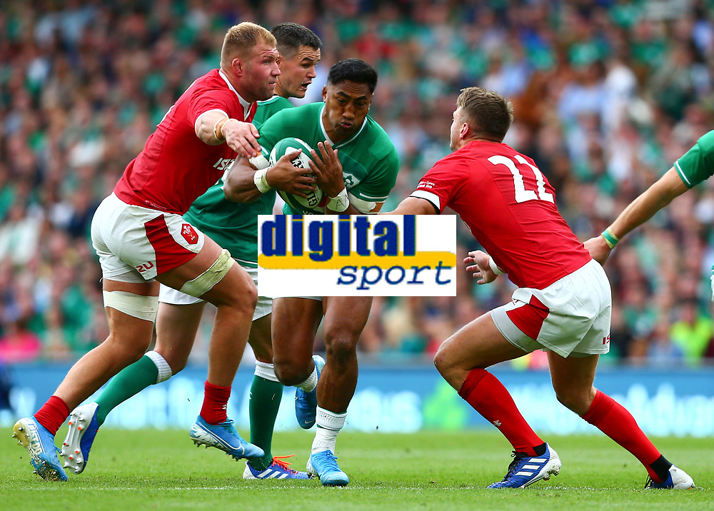 Rugby Union - 2019 pre-Rugby World Cup warm-up (Guinness Summer Series) - Ireland vs. Wales<br /> <br /> Bundee Aki (Ireland) in action against Dan Biggar (Wales) at The Aviva Stadium.<br /> <br /> COLORSPORT/KEN SUTTON