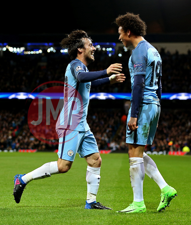 David Silva of Manchester City celebrates with Leroy Sane - Mandatory by-line: Matt McNulty/JMP - 21/02/2017 - FOOTBALL - Etihad Stadium - Manchester, England - Manchester City v AS Monaco - UEFA Champions League - Round of 16 First Leg