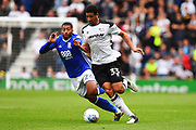 Derby County defender Curtis Davies (33) battles with Birmingham City midfielder David Davis (26) during the EFL Sky Bet Championship match between Derby County and Birmingham City at the Pride Park, Derby, England on 23 September 2017. Photo by Jon Hobley.
