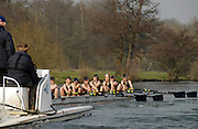 Henley, GREAT BRITAIN, OUWBC vs CUWBC,The Newton Women's Boat Race.  OUWBC power down the Henley Reach, followed by Umpire's Launch. 2011 Henley Boat Races, Temple Island, Henley Reach, River Thames, England  Sunday  27/03/2011.  [Mandatory Credit, Karon Phillips /Intersport-images]..Crew.OUWBC:.Bow Nicole SCHEUMANN, Canstance SPOOR, Harriet KEANE, Natalie REDGRAVE, Eugenia GOSSEN, Sonia BRACEGIRDLE, Eleanor PIGGOTT, Stroke Brianna STUBBS, Cox Nathaniel UPTON..