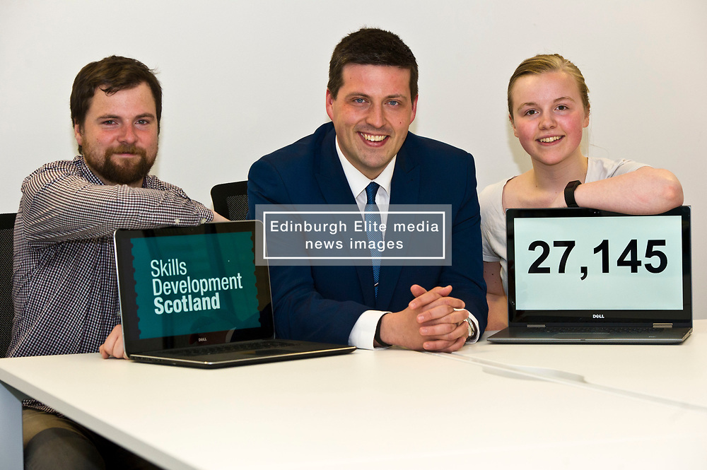 Pictured: Jamie Hepburn was flanked by Mark Mackay and Monica Richrdson apprentice web designers<br /> <br /> Minister for Employability and Training Jamie Hepburn visited Cortex Worldwide in Edinburgh today as he commented on the latest Labour Market Statistics and Modern Apprenticeship figures.<br /> Cortex Worldwide is a leading cloud based solutions company based in Edinburgh which employs a number of Modern and Graduate Apprentices. <br /> <br /> <br /> Ger Harley | EEm 12 June 2018
