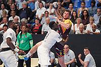 Alberto Entrerrios / Luc Abalo - 26.04.2015 - Handball - Nantes / Paris Saint Germain - Finale Coupe de France-  <br /> Photo : Andre Ferreira / Icon Sport