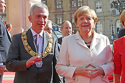 03.10.2015, Frankfurt am Main, GER, Tag der Deutschen Einheit, im Bild Oberbuergermeister Peter Feldmann mit Bundeskanzlerin Angela Merkel // during the celebrations of the 25 th anniversary of German Unity Day in Frankfurt am Main, Germany on 2015/10/03. EXPA Pictures © 2015, PhotoCredit: EXPA/ Eibner-Pressefoto/ Roskaritz<br /> <br /> *****ATTENTION - OUT of GER*****