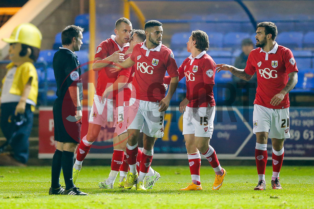 Aaron Wilbraham of Bristol City celebrates with Joe Bryan and Derrick Williams after he scores a goal to make it 0-2 - Photo mandatory by-line: Rogan Thomson/JMP - 07966 386802 - 28/11/2014 - SPORT - FOOTBALL - Peterborough, England - ABAX Stadium - Peterborough United v Bristol City - Sky Bet League 1.