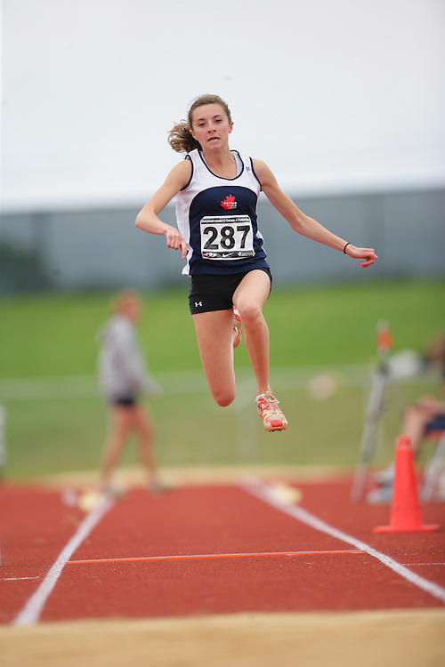 (Charlottetown, Prince Edward Island -- 20090719) Julia Mirotta of Guelph Track & Field Club competes in the triple jump final at the 2009 Canadian Junior Track & Field Championships at UPEI Alumni Canada Games Place on the campus of the University of Prince Edward Island, July 17-19, 2009.  Geoff Robins / Mundo Sport Images ..Mundo Sport Images has been contracted by Athletics Canada to provide images to the media.