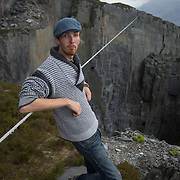 High wire walker Ellis Grover. Photographed after crossing 'the Lost World', a 150m deep and 130 wide quarry hole in North Wales.