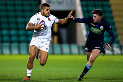 Ollie Lawrence of England U20 takes on Cameron Anderson of Scotland U20 - Mandatory by-line: Robbie Stephenson/JMP - 15/03/2019 - RUGBY - Franklin's Gardens - Northampton, England - England U20 v Scotland U20 - Six Nations U20