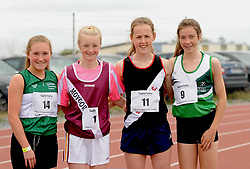 Katie Gibbons, Emily Murray, Maeve Gallagher and Saoirse O&rsquo;Brien competing in the girls U16 1500m at the Community Games.<br />