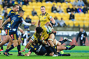 Ardie Savea with the ball during the super rugby union  game between Hurricanes  and Highlanders, played at Westpac Stadium, Wellington, New Zealand on 24 March 2018.  Hurricanes won 29-12.