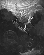 Archangel Michael and his angels fighting the dragon. Virgin Mary with infant Jesus in arms looks down from Heaven.  Revelation 12:1. From Gustave Dore 'Bible' 1865-1866. Wood engraving.