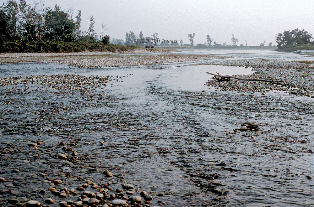 View of the shallow, depeted Karnali river near Bardia Park in southwestern Nepal.