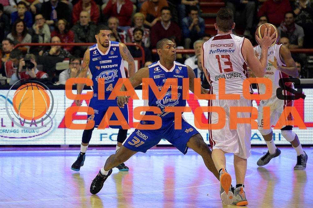 DESCRIZIONE : Campionato 2014/15 Giorgio Tesi Group Pistoia - Acqua Vitasnella Cant&ugrave;<br /> GIOCATORE : Ron Artest Metta World Peace<br /> CATEGORIA : difesa controcampo<br /> SQUADRA : Acqua Vitasnella Cantu&rsquo;<br /> EVENTO : LegaBasket Serie A Beko 2014/2015<br /> GARA : Giorgio Tesi Group Pistoia - Acqua Vitasnella Cant&ugrave;<br /> DATA : 30/03/2015<br /> SPORT : Pallacanestro <br /> AUTORE : Agenzia Ciamillo-Castoria/GiulioCiamillo<br /> Galleria : LegaBasket Serie A Beko 2014/2015<br /> Fotonotizia : Campionato 2014/15 Giorgio Tesi Group Pistoia - Acqua Vitasnella Cant&ugrave;<br /> Predefinita :