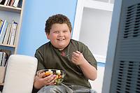 Boy Eating Bowl of Fruit