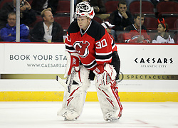 Oct 15; Newark, NJ, USA; New Jersey Devils goalie Martin Brodeur (30) relaxes during a break in the first period of their game against the Colorado Avalanche at the Prudential Center.