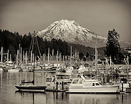 One of the most famous view in the Northwest is Gig Harbor with Mount Rainier in the background.