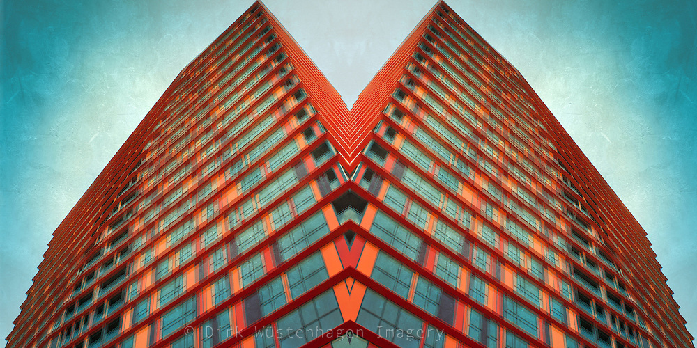 Manipulated image of a skyscraper