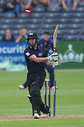 Geraint Jones of Gloucestershire is bowled out by Michael Hogan of Glamorgan for 25 - Photo mandatory by-line: Dougie Allward/JMP - Mobile: 07966 386802 - 12/06/2015 - SPORT - Cricket - Bristol - County Ground - Gloucestershire v Glamorgan - Natwest T20 Blast