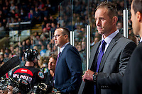 KELOWNA, CANADA - SEPTEMBER 24: Head coach Jason Smith of the Kelowna Rockets stands on the bench against the Kamloops Blazers on September 24, 2016 at Prospera Place in Kelowna, British Columbia, Canada.  (Photo by Marissa Baecker/Shoot the Breeze)  *** Local Caption *** Jason Smith;