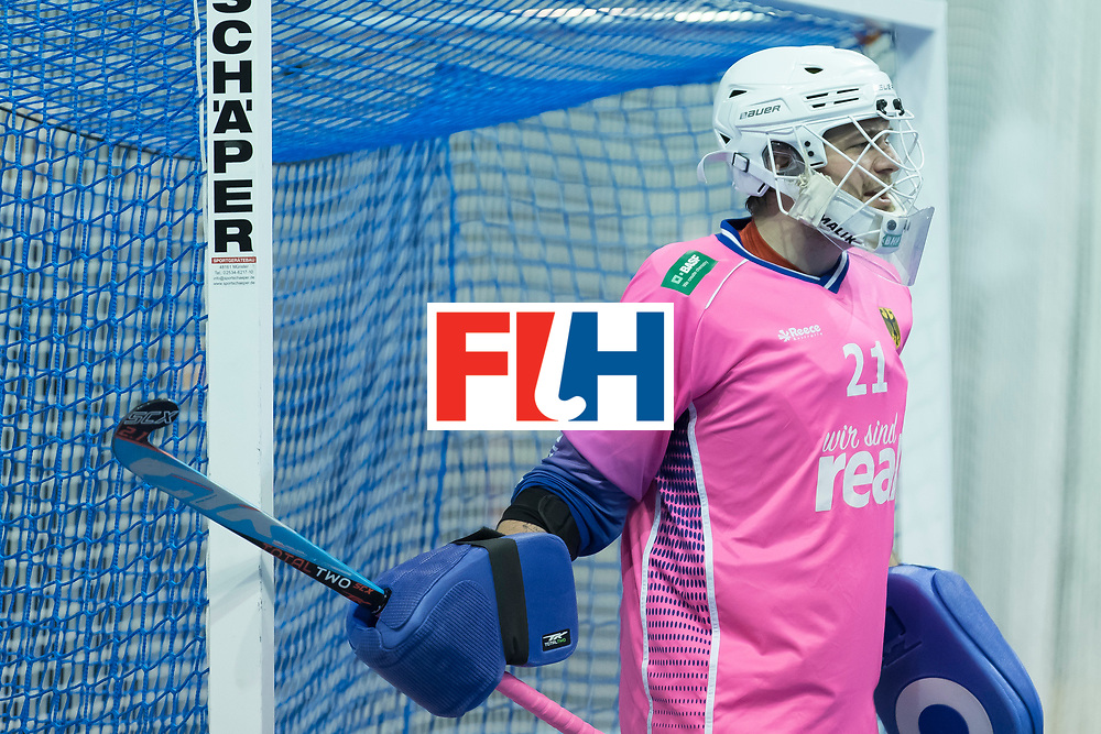 Hockey, Seizoen 2017-2018, 09-02-2018, Berlijn,  Max-Schmelling Halle, WK Zaalhockey 2018 MEN, Germany - Switzerland 3-0, Tobias Walter (GK) . Worldsportpics copyright Willem Vernes