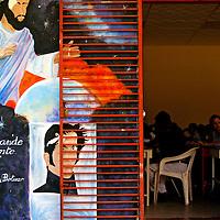 Mural de Simon Bolivar en una institucion educativa en Guasdualito, Estado Apure - Venezuela.Photography by Aaron Sosa.Venezuela 2007.(Copyright © Aaron Sosa)