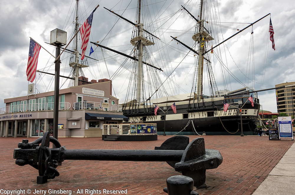 Historic USS Constellation rests at anchor in Baltimore's Inner Harbor.