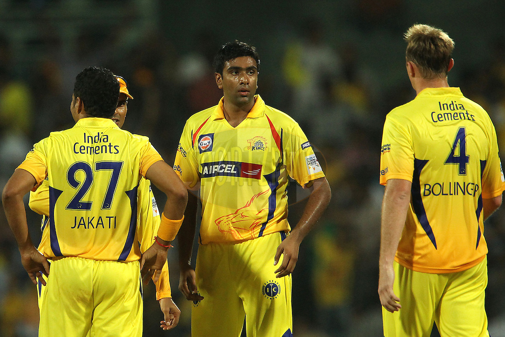 Ravichandran Aswhin during match 3 of the NOKIA Champions League T20 ( CLT20 )between the Chennai Superkings and the Mumbai Indians held at the M. A. Chidambaram Stadium in Chennai , Tamil Nadu, India on the 24th September 2011..Photo by Sundar Raman /BCCI/SPORTZPICS