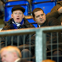 Hearts v St Johnstone...14.02.12.. Scottish Cup 5th Round Replay<br /> Steve Lomas watches from the stand with Chairman Steve Brown<br /> Picture by Graeme Hart.<br /> Copyright Perthshire Picture Agency<br /> Tel: 01738 623350  Mobile: 07990 594431