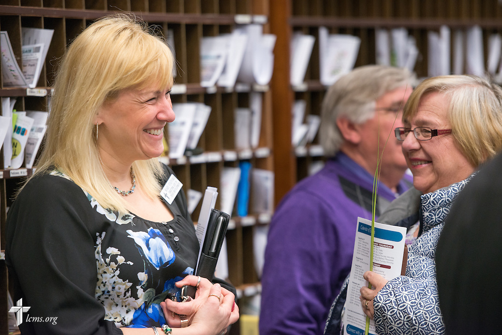 Mary Stafford, director, Life in Jesus Development, chats during fellowship at Brookfield Lutheran Church on Sunday, March 29, 2015, in Brookfield, Wis. LCMS Communications/Erik M. Lunsford
