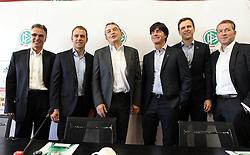 18.10.2013, DFB Zentrale, Frankfurt, GER, DFB Pressekonferenz, im Bild DFB-Generalsekretär Helmut Sandrock, Hansi Flick, DFB Präsident Wolfgang Niersbach, Joachim Jogi Löw, Manager Oliver Bierhoff u Torwarttrainer Andreas KöpkeDeutscher // during the DFB press conference to extend the contract of national coach Joachim Loew in the DFB headquarters in Frankfurt on 2013/10/18. EXPA Pictures © 2013, PhotoCredit: EXPA/ Eibner-Pressefoto/ RRZ<br /> <br /> *****ATTENTION - OUT of GER*****