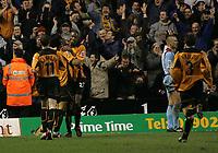 Fotball<br /> England 2004/22005<br /> Foto: SBI/Digitalsport<br /> NORWAY ONLY<br /> <br /> Wolverhampton Wanderers v West Ham<br /> Molineux Stadium, Wolverhampton<br /> Coca Cola Championship. 15/01/2005. <br /> <br /> Wolves celebrate Carl Cort's goal.