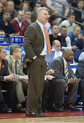 Illinois Fighting Illini Head Coach Bruce Weber in action against Virginia Tech.  The #5 seed Virginia Tech Hokies defeated the #12 seed Illinois Illini 54-52 in the first round of the Men's NCAA Tournament in Columbus, OH on March 16, 2007.