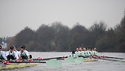 London, Great Britain,  Cambridge, Fuerte starting to pull away from Listo as both crew pass Chiswick Eyot, during the BNY Mellon, 2016 University Men's Boat Race, Putney to Mortlake. ENGLAND. <br /> <br /> Sunday 13.12.2015<br /> <br /> [Mandatory Credit; Peter Spurrier/Intersport-images]<br /> <br /> CUBC Trial VIII's between FUERTE on Surrey and LISTO on Middlesex<br /> <br /> FUERTE, Bow, Peter Carey, 2, Patrick Elwood, 3, Alister Taylor, 4, Peter Rees, 5, Charlie Fisher, 6, Ali Abbasi, 7, Luke Juckett, Stroke, Lance Tredell, Cox, Ian Middleton<br /> <br /> LISTO, Bow, Piers Kasas, Felix Newman, 3, Sam Ringer, 4, Joe Carroll, 5, Clemens Auersperg, 6, Vincent Bertram, 7, Henry Hoffstot, Stroke, Ben Ruble, Cox, Hugo Ramambason