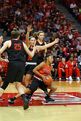 07 October 2016: Zakiya Beckles is turned away by Taylor Stewart. Illinois State University Women's Redbird Basketball team during Hoopfest at Redbird Arena in Normal Illinois.