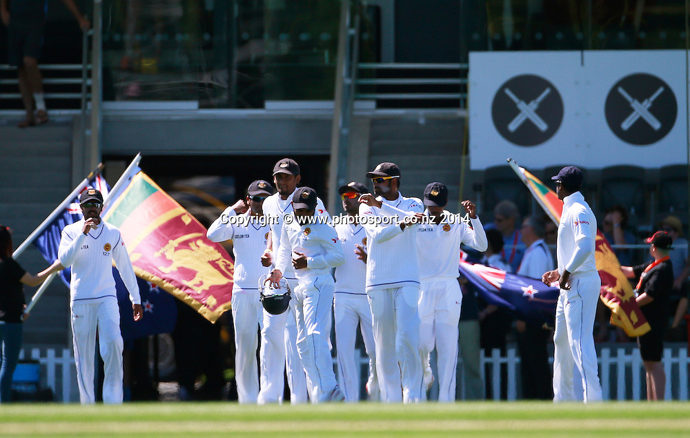 The Sri Lankan team walk onto the field before play on Day 1 of the boxing Day Cricket Test Match between the Black Caps v Sri Lanka at Hagley Oval, Christchurch. 26 December 2014 Photo: Joseph Johnson / www.photosport.co.nz