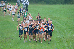 Trey Miller (185/University of Virginia),  Emil Heineking (169/Unattached), and  Tradelle Ward (131/Duke University) lead the race at the first mile.  The Lou Onesty Invitational Cross Country meet was hosted by the University of Virginia XC team and held at Panorama Farms near Charlottesville, VA on September 6, 2008.  Athletes endured rain and wind from Tropical Storm Hanna during the race.