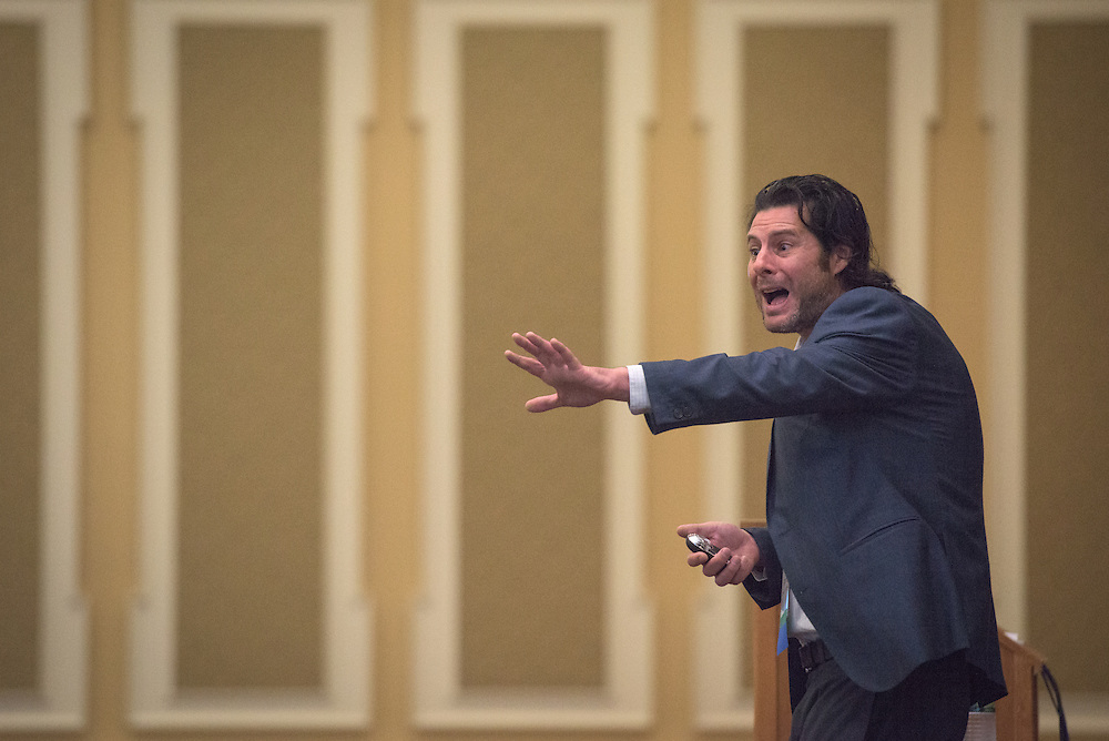 Dr. Jason Stoner, Associate Professor in the Ohio University College of Business, speaks with attendees of the Ohio MBA Leadership Development Workshop in the Baker Center ballroom on Saturday, August 27, 2016.