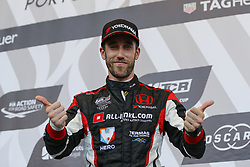 June 23, 2018 - Vila Real, Vila Real, Portugal - Esteban Guerrieri from Argentina in Honda Civic Type R TCR of ALL-INKL.COM Munnich Motorsport celebrating the second place of race 1 in the podium ceremony of FIA WTCR 2018 World Touring Car Cup Race of Portugal, Vila Real, June 23, 2018. (Credit Image: © Dpi/NurPhoto via ZUMA Press)
