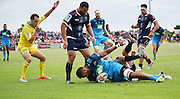 Patrick Tuipulotu scores a try during a pre season Super Rugby match. Blues v Storm, Pakuranga Rugby Club, Auckland, New Zealand. Thursday 4 February 2016. Copyright Photo: Andrew Cornaga / www.Photosport.nz