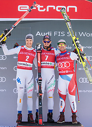 28.12.2018, Stelvio, Bormio, ITA, FIS Weltcup Ski Alpin, Abfahrt, Herren, Siegerehrung, im Bild v.l. Christof Innerhofer (ITA, 2. Platz), Dominik Paris (ITA, 1. Platz), Beat Feuz (SUI, 3. Platz) // f.l. second placed Christof Innerhofer of Italy race winner Dominik Paris of Italy third placed Beat Feuz of Switzerland during the winner Ceremony for the men's Downhill of FIS Ski Alpine World Cup at the Stelvio in Bormio, Italy on 2018/12/28. EXPA Pictures © 2018, PhotoCredit: EXPA/ Johann Groder