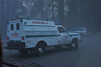 Emergency Vehicles in the Haze. Rock Slide at Curry Village in Yosemite Valley on 07-October-2008.