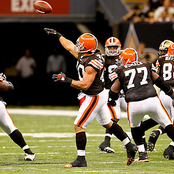 Oct 24, 2010; New Orleans, LA, USA; Cleveland Browns running back Peyton Hillis (40) throws a halfback pass during the second half against the New Orleans Saints at the Louisiana Superdome. The Browns defeated the Saints 30-17.  Mandatory Credit: Derick E. Hingle