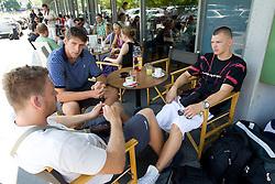 Miha Zupan, Gasper Vidmar and Jaka Klobucar of Slovenia Basketball national team at departure to Rogla before World Championship in Turkey, on July 10, 2010 at KZS, Ljubljana, Slovenia. (Photo by Vid Ponikvar / Sportida)