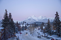 Banff ski trip. Banff Village at dusk.   ©2019 Karen Bobotas Photographer