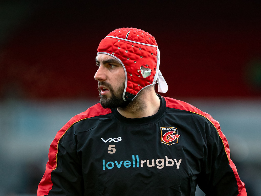 Cory Hill of Dragons during the pre match warm up<br /> <br /> Photographer Simon King/Replay Images<br /> <br /> Guinness PRO14 Round 12 - Dragons v Ospreys - Sunday 30th December 2018 - Rodney Parade - Newport<br /> <br /> World Copyright © Replay Images . All rights reserved. info@replayimages.co.uk - http://replayimages.co.uk