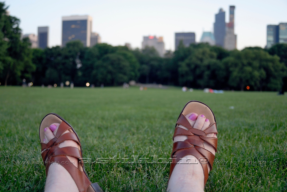 The Sheep Meadow at Central Park with Manhattan skyline, New York City