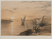 Boats on the Nile 1847 Color lithograph by David Roberts (1796-1864). An engraving reprint by Louis Haghe was published in a the book 'The Holy Land, Syria, Idumea, Arabia, Egypt and Nubia. in 1855 by D. Appleton & Co., 346 & 348 Broadway in New York.