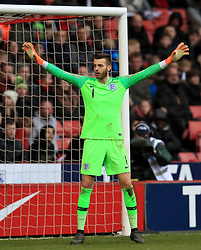 England U21 goalkeeper Angus Gunn during the UEFA European U21 Championship Qualifying, Group 4 match at Bramall Lane, Sheffield. PRESS ASSOCIATION Photo. Picture date: Tuesday March 27, 2018. See PA story SOCCER England U21. Photo credit should read: Mike Egerton/PA Wire. RESTRICTIONS: Use subject to FA restrictions. Editorial use only. Commercial use only with prior written consent of the FA. No editing except cropping.